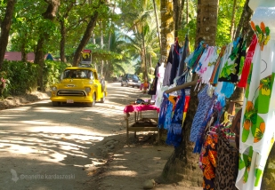 Driving down the main street in Dominical.