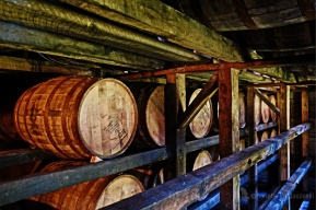 Aging bourbon in the Makers Mark barrel house.